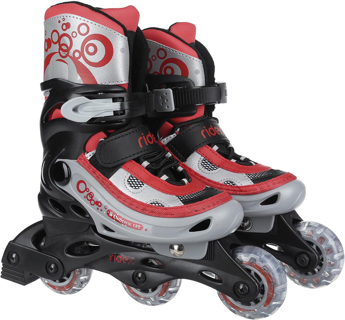 Коньки роликовые Ridex Rush, раздвижные, цвет: черный, красный, серый. УТ-00008096. Размер 35/38