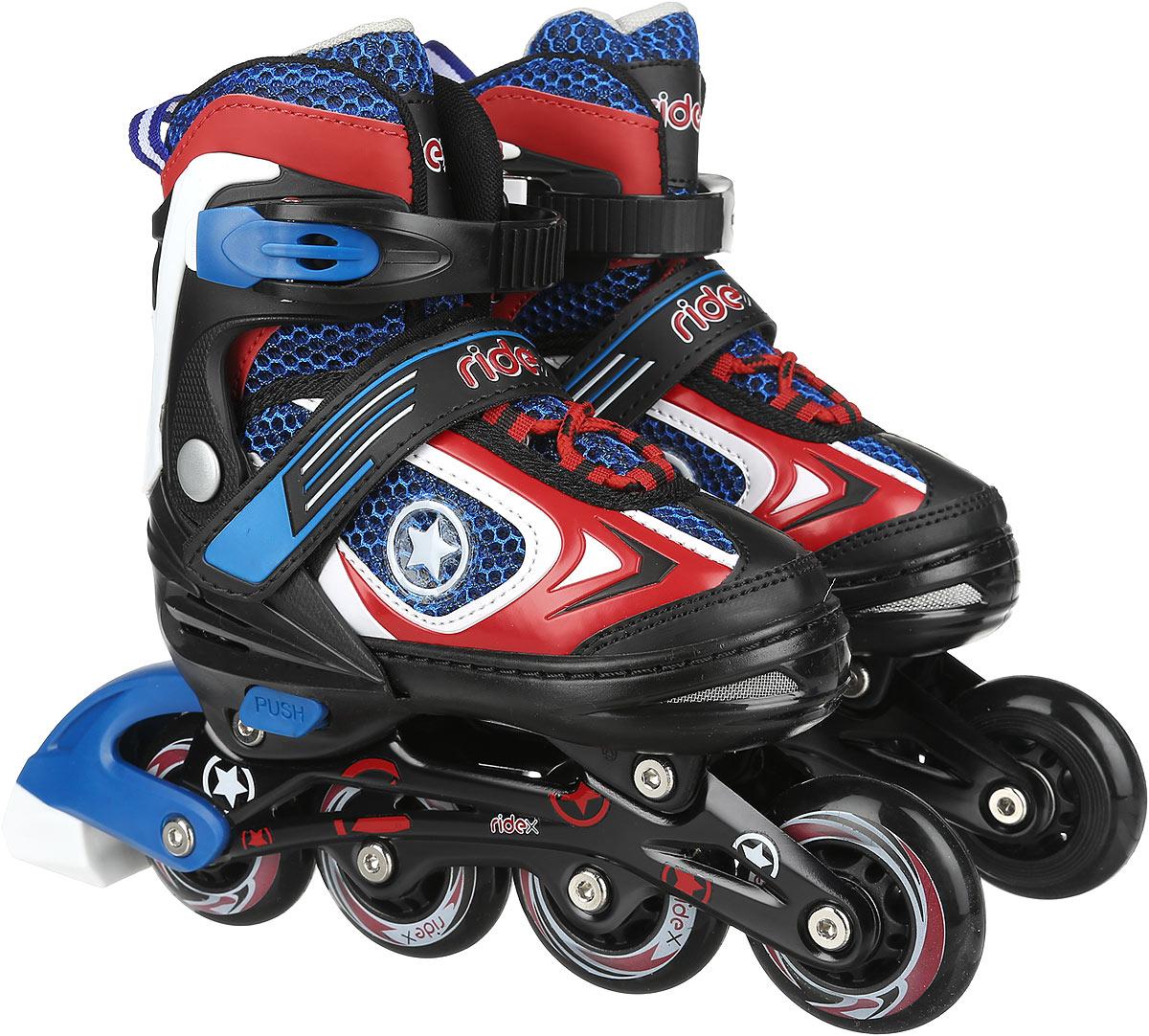 Коньки роликовые Ridex Defender, раздвижные, цвет: черный, синий, красный, белый. УТ-00008107. Размер 30/33