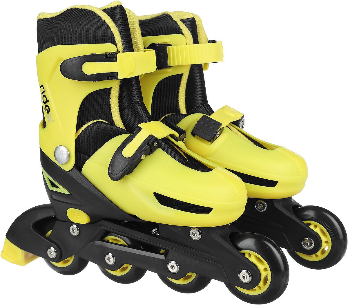 Коньки роликовые Ridex Champion, раздвижные, цвет: черный, желтый. УТ-00008209. Размер 31/34