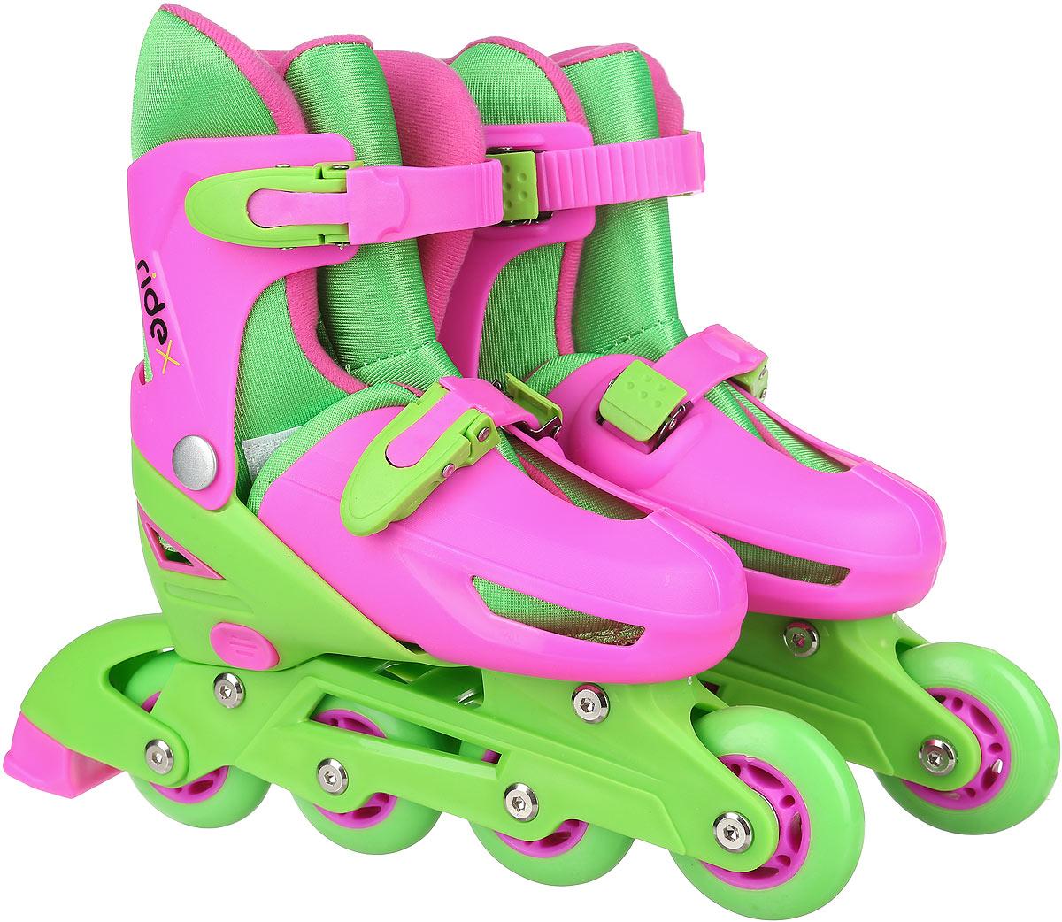 Коньки роликовые Ridex Yummy, раздвижные, цвет: салатовый, фуксия. УТ-00008210. Размер 31/34