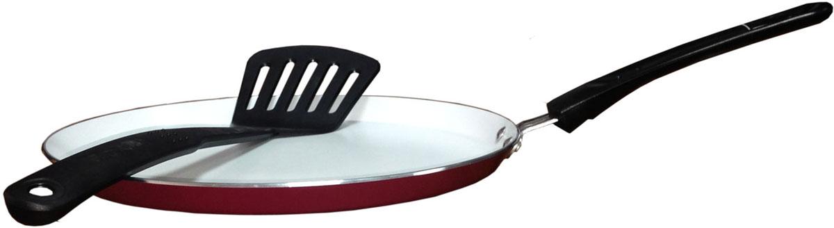 Сковорода для блинов Bohmann, с керамическим покрытием, с лопаткой, цвет: красный, белый. Диаметр 24 см2924BHWCRСковорода из нелегированной стали. Керамическое белое покрытие. Нейлоновая лопатка в комплекте. Размер: 24 х 2 см. Вес 0.46 кг