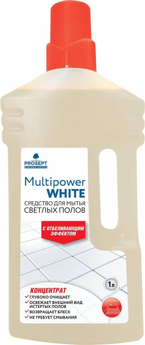 Cредство для мытья светлых полов Prosept Multipower White, с отбеливающим эффектом, концентрат, 1 л100-1Щелочное моющее низкопенное средство для мытья следующих типов напольных покрытий - керамических, синтетических (ПВХ, винил), из искусственного камня, каучуковых, окрашенных деревянных, бетонных, наливных. Удаляет атмосферные, почвенные и органические загрязнения. Отбеливает светлые напольные покрытия, возвращает свежий вид полам, потемневшим со временем. Не оставляет разводов.