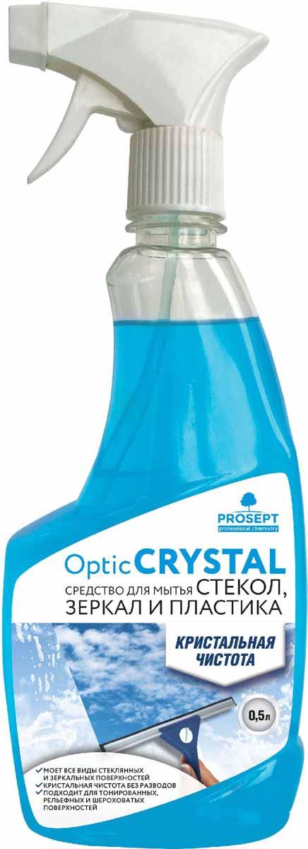 Средство для мытья стекол и зеркал Prosept Optic Crystal, 0,5 л114-0Слабощелочное моющее средство для ежедневного и периодического мытья окон, витрин, витражей, стеклянных дверей и перегородок, панорамных стекол, панелей, стеклоблоков. Удаляет атмосферные, почвенные и органические загрязнения со всех видов стеклянных и зеркальных поверхностей, в том числе тонированных, шероховатых, рельефных. Не требует смывания.