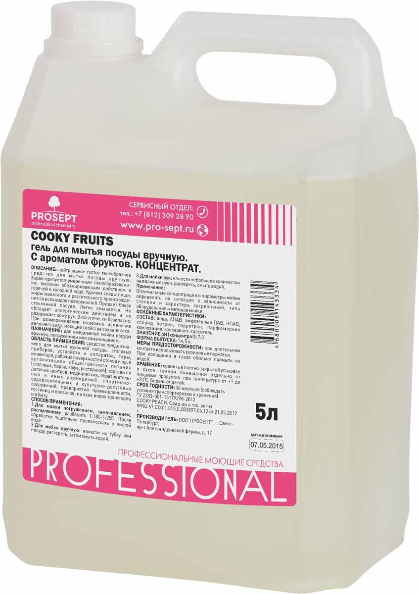 Гель для мытья посуды Prosept Cooky Fruits, концентрат, с ароматом фруктов, 5 л127-5Нейтральное густое гелеобразное перламутровое средство со смягчающими добавками. Очищает кожную поверхность рук от грязи, масел, жиров и окрашивания растительными пигментами. Устраняет устойчивые запахи. Не раздражает кожу.