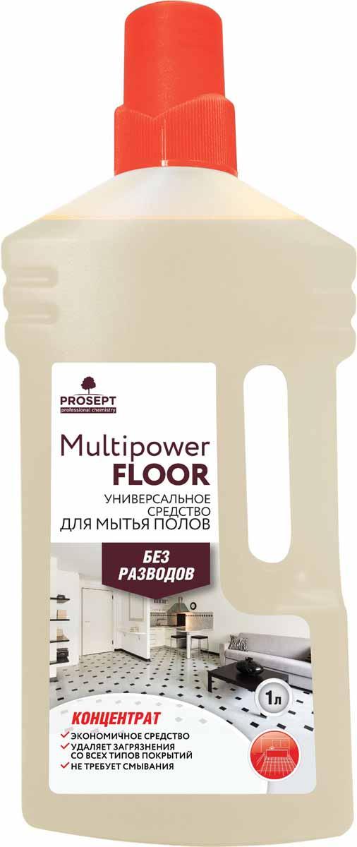 Средство для мытья полов Prosept Multipower Floor, концентрат, 1 л230-1Щелочное моющее средство. Эффективно в воде любой жесткости и температуры. Удаляет атмосферные, почвенные, органические и другие виды загрязнений со всех типов твердых поверхностей и напольных покрытий. Для мытья ручным и механизированным способом