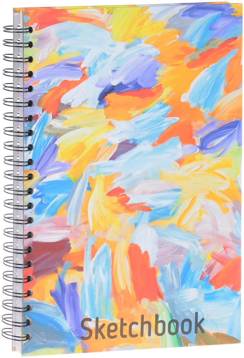Попурри Скетчбук Краски 80 листов4810764001573Удобный скетчбук Краски на металлическом гребне с блоком из плотной белой бумаги предназначен для рисования. Скетчбук имеет обложку из твердого картона. Обложка оформлена небрежными мазками цветных красок. Такой скетчбук - настоящая находка для художника, иллюстратора или архитектора.