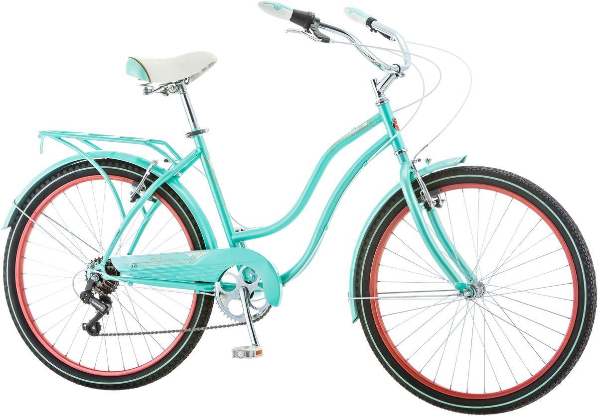 Велосипед городской Schwinn Perla, женский, рама 16, колеса 26, 7 скоростей, цвет: голубойS5477CЖенский велосипед Schwinn Perla 7 притягивает восторженные взгляды окружающих. Классический круизёр небесно-голубого цвета в сочетании с изящными изгибами рамы задает стиль Вашей поездки. Подберите максимально удобную для Вас посадку благодаря комфортному седлу и широкому рулю с регулировками по высоте и наклону. Велосипед оснащён полноразмерными крыльями и багажником в цвет рамы, что увеличивает его функциональность и придает пикантность внешнему виду. 7 скоростей Perla 7 – это не слишком много, чтобы запутаться в их переключении, но достаточно для подъёма в гору или поездки на дальние расстояния. • Прочная заниженная рама размером 16 • Надежные ободные тормоза • Переключатели передач Shimano Tourney • 7 скоростей • Руль и седло регулируются по высоте и наклону • Широкое и комфортное седло • Полноразмерные крылья и багажник в цвет велосипеда • Полноразмерная защита цепи • Подножка в комплекте • Колёса 26