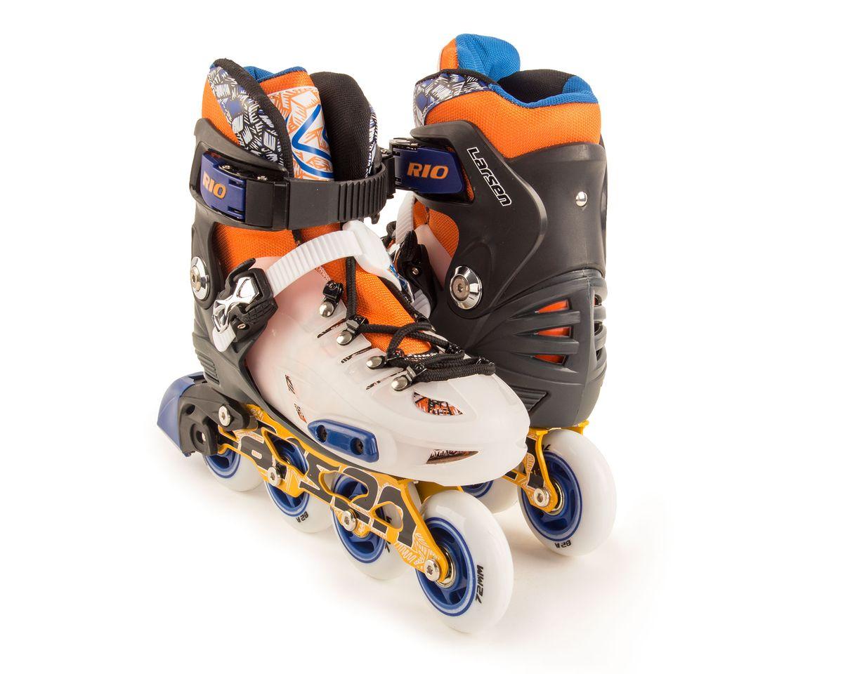 Коньки роликовые Larsen Rio, цвет: оранжевый, белый, черный. 336003-904. Размер S (28/31)
