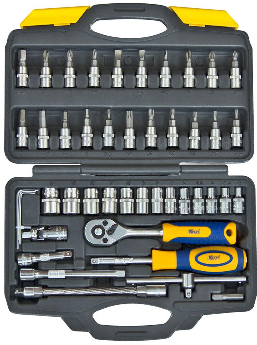 Набор инструментов Kraft Professional, 1/4, 46 предметовКТ700618Набор слесарно-монтажного инструмента Kraft Professional предназначен для работы с резьбовыми соединениями. Головка с храповым механизмом устраняет необходимость каждый раз устанавливать ключ на крепежный элемент. Состав набора: шестигранные торцевые головки 1/4: 4 мм, 4,5 мм, 5 мм, 5,5 мм, 6 мм, 7 мм, 8 мм, 9 мм, 10 мм, 11 мм, 12 мм, 13 мм, 14 мм; шестигранные торцевые головки со вставками Шлиц: 4 мм, 5,5 мм, 7 мм; шестигранные торцевые головки со вставками Pozi: 1 мм, 2 мм, 3 мм; шестигранные торцевые головки со вставками Крестообразный шлиц: РН1, РН2, РН3; шестигранные торцевые головки со вставками HEX: 3 мм, 4 мм, 5 мм, 6 мм, 7 мм, 8 мм; шестигранные торцевые головки со вставками TORX:Т10, Т15, Т20, Т25, Т30, Т40; вороток Т-образный 1/4; кардан шарнирный 1/4; удлинитель гибкий 1/4 145 мм; рукоятка трещоточная с быстрым сбросом 1/4: 145 мм, 72 зубца; удлинители 1/4: 50 мм, 100 мм; ...