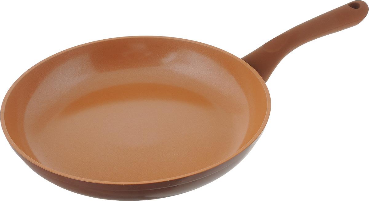 Сковорода NaturePan Ceramic, с керамическим покрытием. Диаметр 26 смCrP26 CrPI26Сковорода NaturePan Ceramic выполнена из алюминия и имеет современное керамическое покрытие Greblon Ceramic. Благодаря такому покрытию, внутренняя и внешняя поверхность сковороды хорошо моется, устойчива к царапинам. Усиленное кованное дно, служит для равномерного распределения тепла и лучшего приготовления пищи. Эргономичная пластиковая ручка, не скользит в руке и приятна на ощупь. Яркие цвета внутреннего и внешнего покрытия подчеркивают изысканность блюда при приготовлении и создают атмосферу комфорта и уюта на любой кухне. Диаметр: 26 см, Высота стенки: 4,5 см, Длина ручки: 18,5 см.