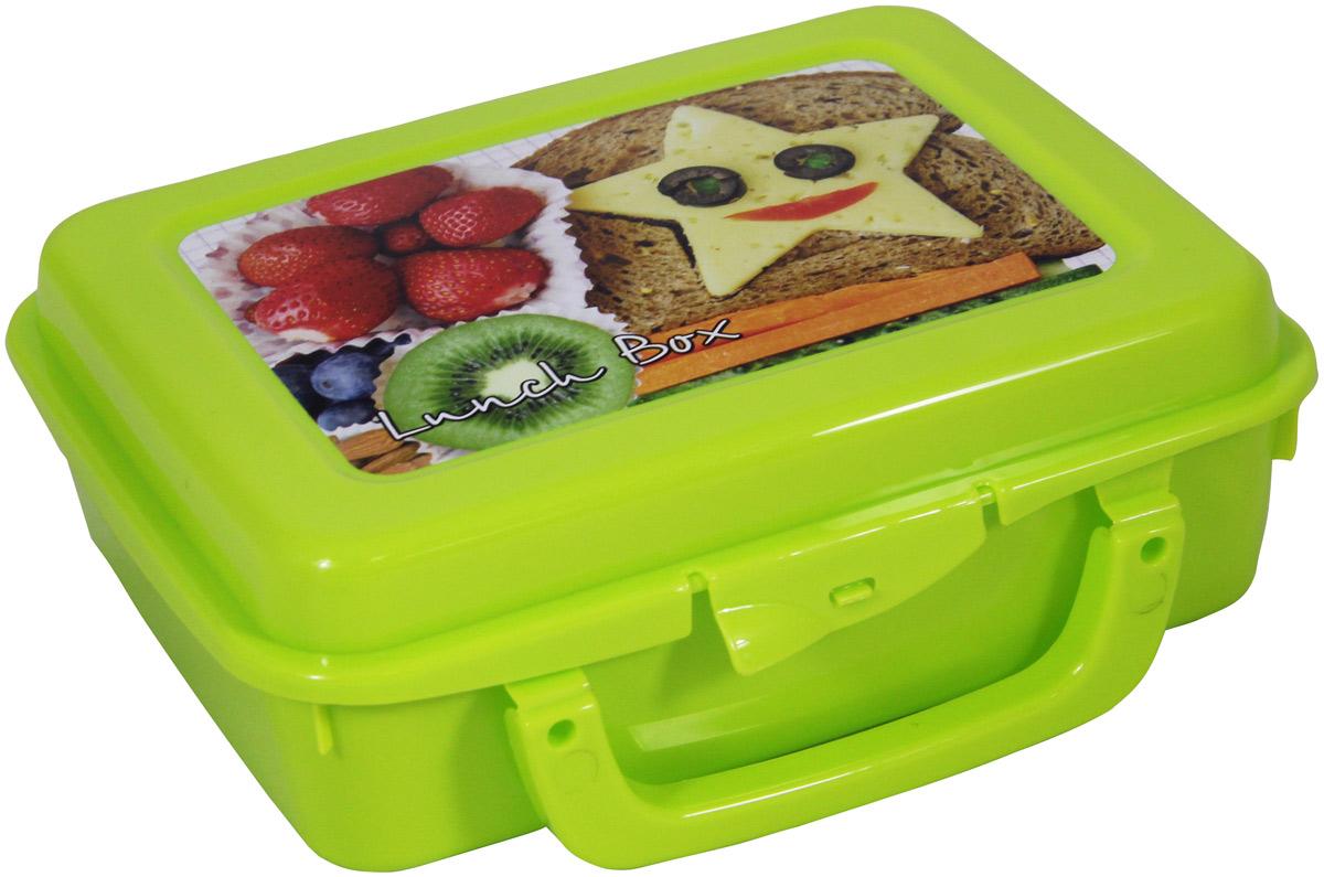 Контейнер пищевой Idea, с ручкой, цвет: салатовый, 20 х 16 х 7 смМ 1234