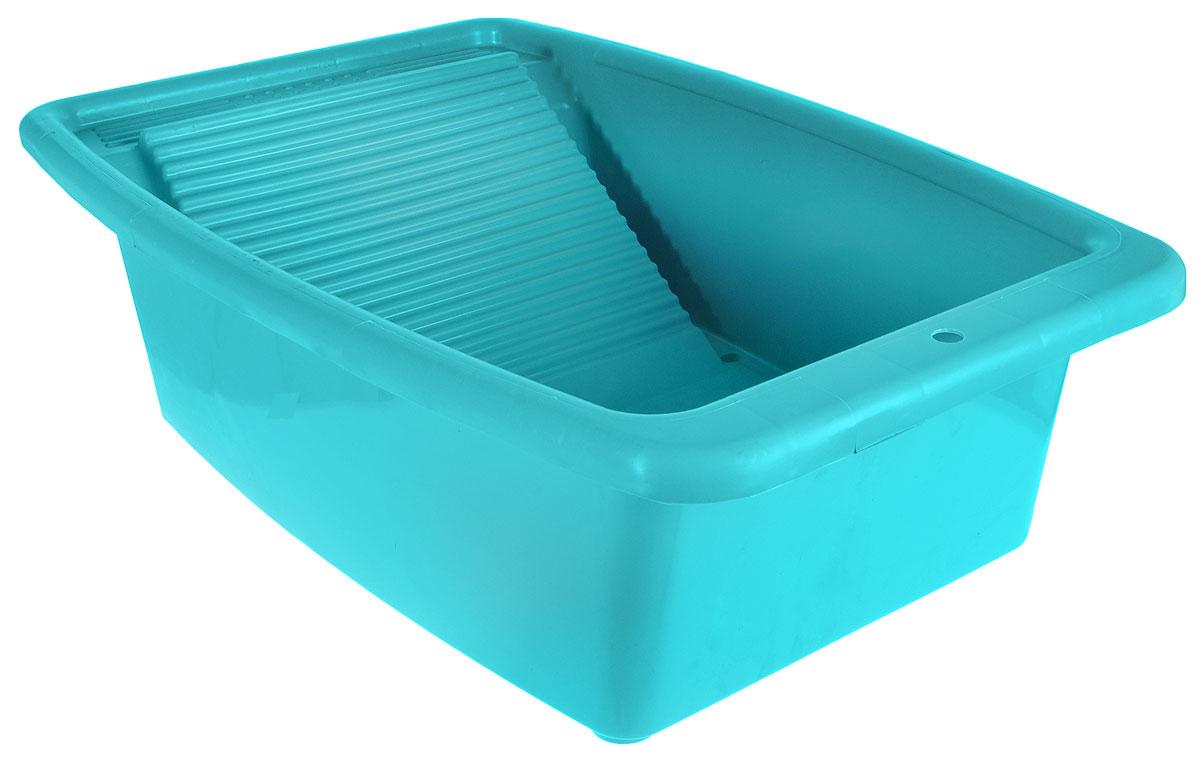 Таз Коллекция, со стиральной доской, цвет: бирюзовый, 34 лАТР-42_бирюзовыйТаз Коллекция изготовлен из высококачественного полипропилена. Таз ударопрочный и термостойкий. Предназначен для замачивания и стирки белья и устанавливается непосредственно на ванну без дополнительных устройств. Одна из стенок таза является одновременно стиральной доской. Изделие позволяет рационально использовать объем ванной комнаты. Такой таз пригодится в любом хозяйстве. Размеры таза: 75 х 46 х 21 см. Размер стиральной доски: 31 см х 31 см.