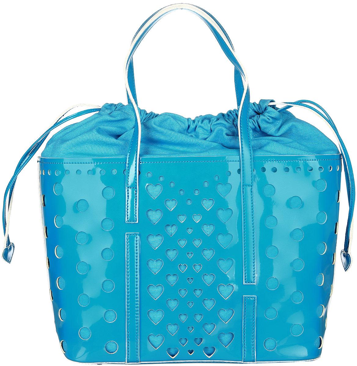Сумка женская Vittorio Richi, цвет: голубой. 913140913140 azzurroСумка из экокожи с перфорацией. Внутри текстильный мешок на затяжках. Высота ручек 21см.