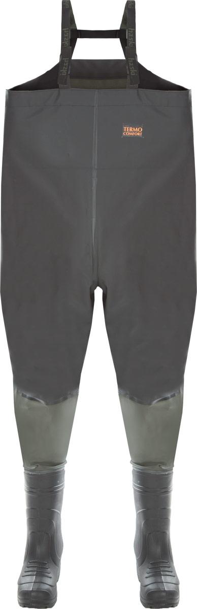 Полукомбинезон рыбацкий Haski Light, цвет: черный, зеленый. Размер 41/4233822Рыбацкий полукомбинезон Haski Light с завышенной спинкой, с удобным внутренним карманом, регулируемыми по длине лямками из двухцветной стропы и эластичной тесьмы. Изготовлен из морозостойкой водонепроницаемой ПВХ-ткани (винитол). Все швы сварены током высокой частоты. Полукомбинезон соединен с сапогами герметичным клеевым швом. Легкие сапоги значительно уменьшают вес изделия, который составляет 2,3 кг. Благодаря использованию материала ЭВА сапоги обладают низкой теплопроводностью, что позволяет комфортно переносить отрицательную температуру. Изделие комплектуется утепляющим вкладышем в сапоги. Материал утепляющего вкладыша - нетканое полотно, дублированное с ворсовым полотном. Этот элемент экипировки специально создан для рыбаков, которые предпочитают не сидеть на берегу, а ловить рыбу на мелководье, зайдя в водоем на определенную глубину. Длина комбинезона по внутреннему шву: 96 см. Максимальный обхват верхней части: 130 см.
