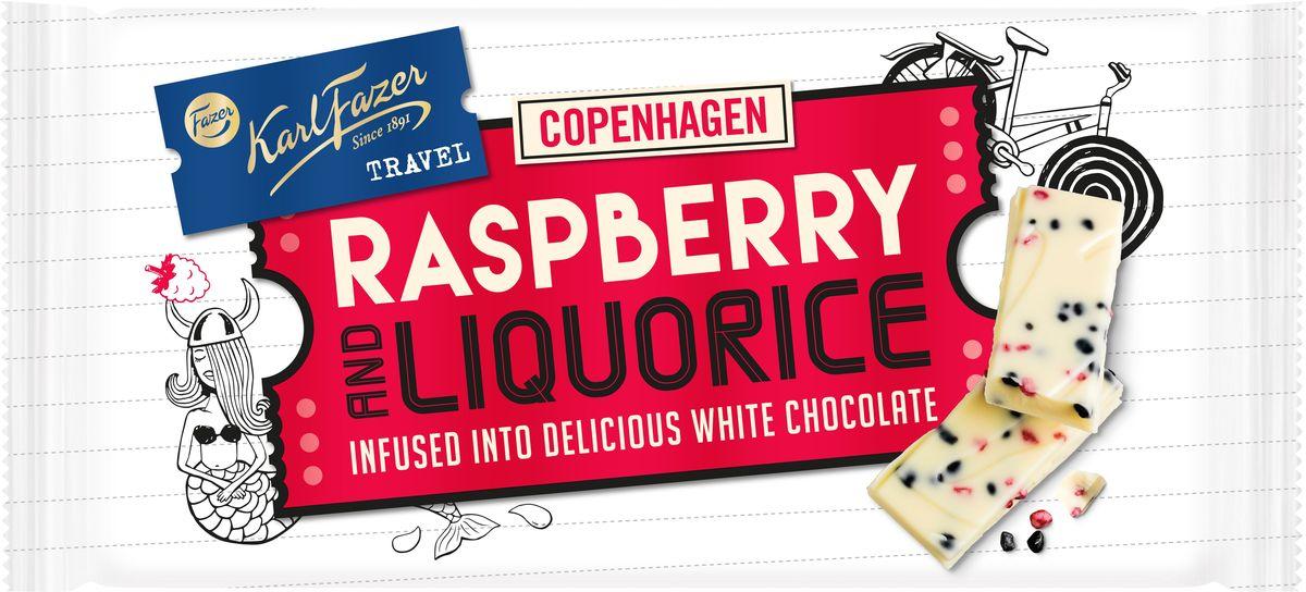 Karl Fazer белый шоколад с лакричными и малиновыми крипсами, 130 г 5898