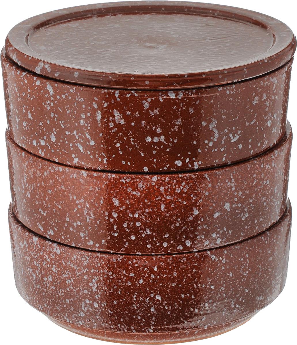Набор блюд для холодца Ломоносовская керамика, с крышкой, цвет: коричневый, 0,65 л, 3 шт2Н3мк-17Блюда Ломоносовская керамика, изготовленные из глины, предназначены для приготовления и хранения заливного или холодца. В комплект входит плоская керамическая крышка. Также блюда можно использовать для приготовления и хранения салатов. Такие блюда украсят сервировку вашего стола и подчеркнут прекрасный вкус хозяйки. Диаметр блюда: 15,2 см, Высота блюда: 5,5 см, Объем блюда: 0,65 л.