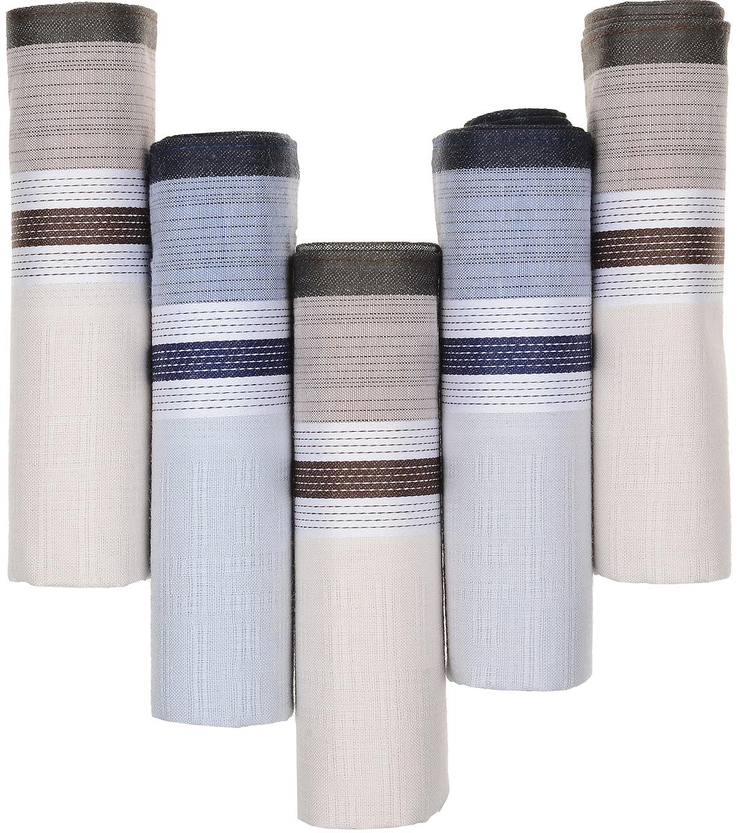 Платок носовой мужской Zlata Korunka, цвет: коричневый, голубой, бежевый, 5 шт. 90512-10. Размер 29 см х 29 см90512-10Оригинальный мужской носовой платок Zlata Korunka изготовлен из высококачественного натурального хлопка, благодаря чему приятен в использовании, хорошо стирается, не садится и отлично впитывает влагу. Практичный и изящный носовой платок будет незаменим в повседневной жизни любого современного человека. Такой платок послужит стильным аксессуаром и подчеркнет ваше превосходное чувство вкуса. В комплекте 5 платков.