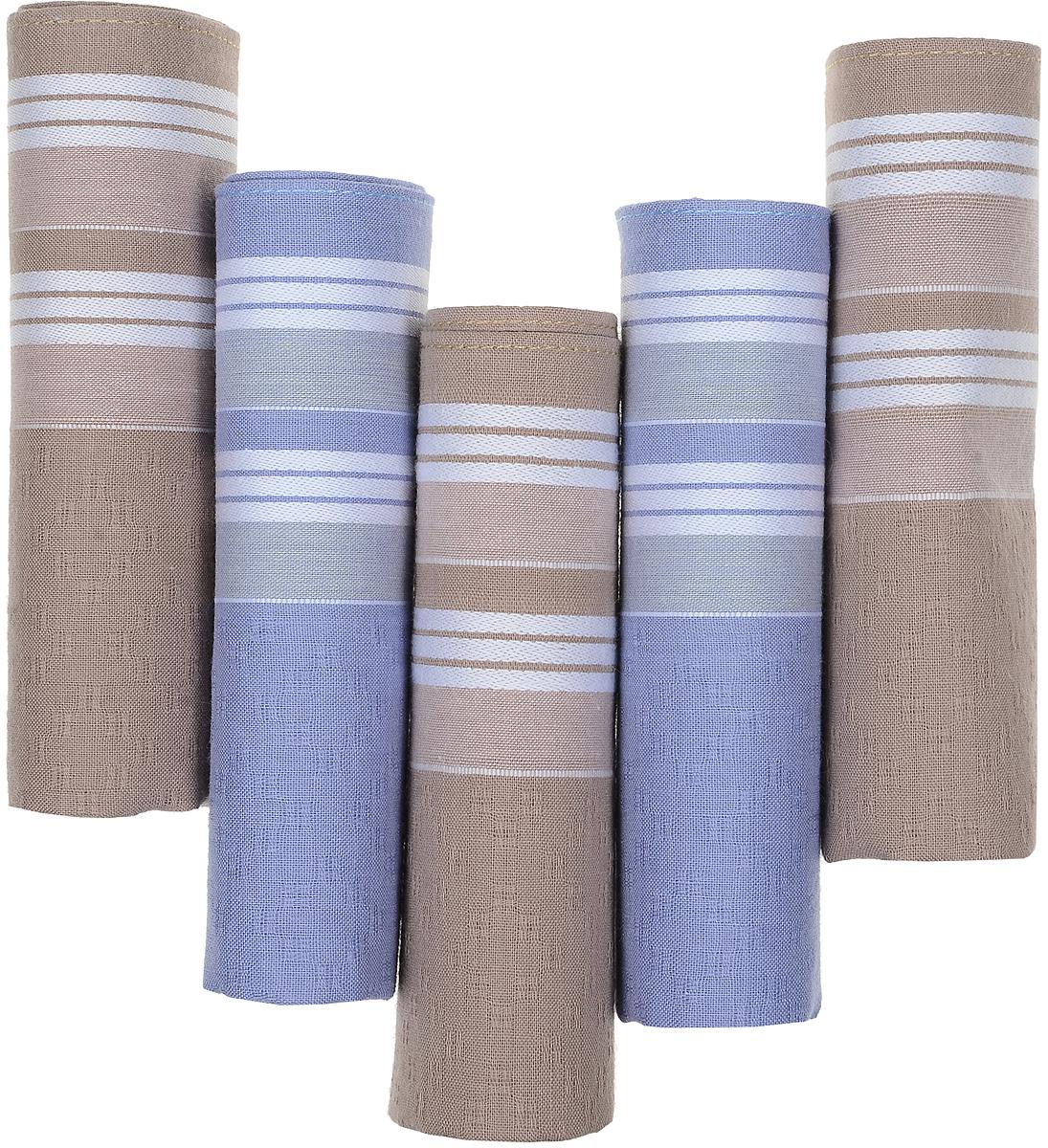 Платок носовой мужской Zlata Korunka, цвет: коричневый, синий, 5 шт. 90512-7. Размер 29 см х 29 см90512-7Оригинальный мужской носовой платок Zlata Korunka изготовлен из высококачественного натурального хлопка, благодаря чему приятен в использовании, хорошо стирается, не садится и отлично впитывает влагу. Практичный и изящный носовой платок будет незаменим в повседневной жизни любого современного человека. Такой платок послужит стильным аксессуаром и подчеркнет ваше превосходное чувство вкуса. В комплекте 5 платков.