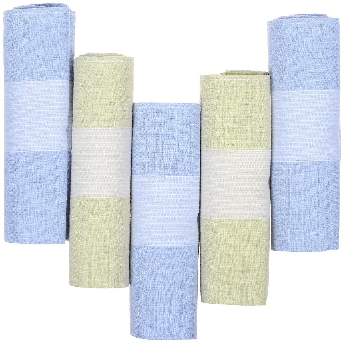 Платок носовой мужской Zlata Korunka, цвет: голубой, молочный, 5 шт. 90512-2. Размер 29 см х 29 см90512-2Оригинальный мужской носовой платок Zlata Korunka изготовлен из высококачественного натурального хлопка, благодаря чему приятен в использовании, хорошо стирается, не садится и отлично впитывает влагу. Практичный и изящный носовой платок будет незаменим в повседневной жизни любого современного человека. Такой платок послужит стильным аксессуаром и подчеркнет ваше превосходное чувство вкуса. В комплекте 5 платков.