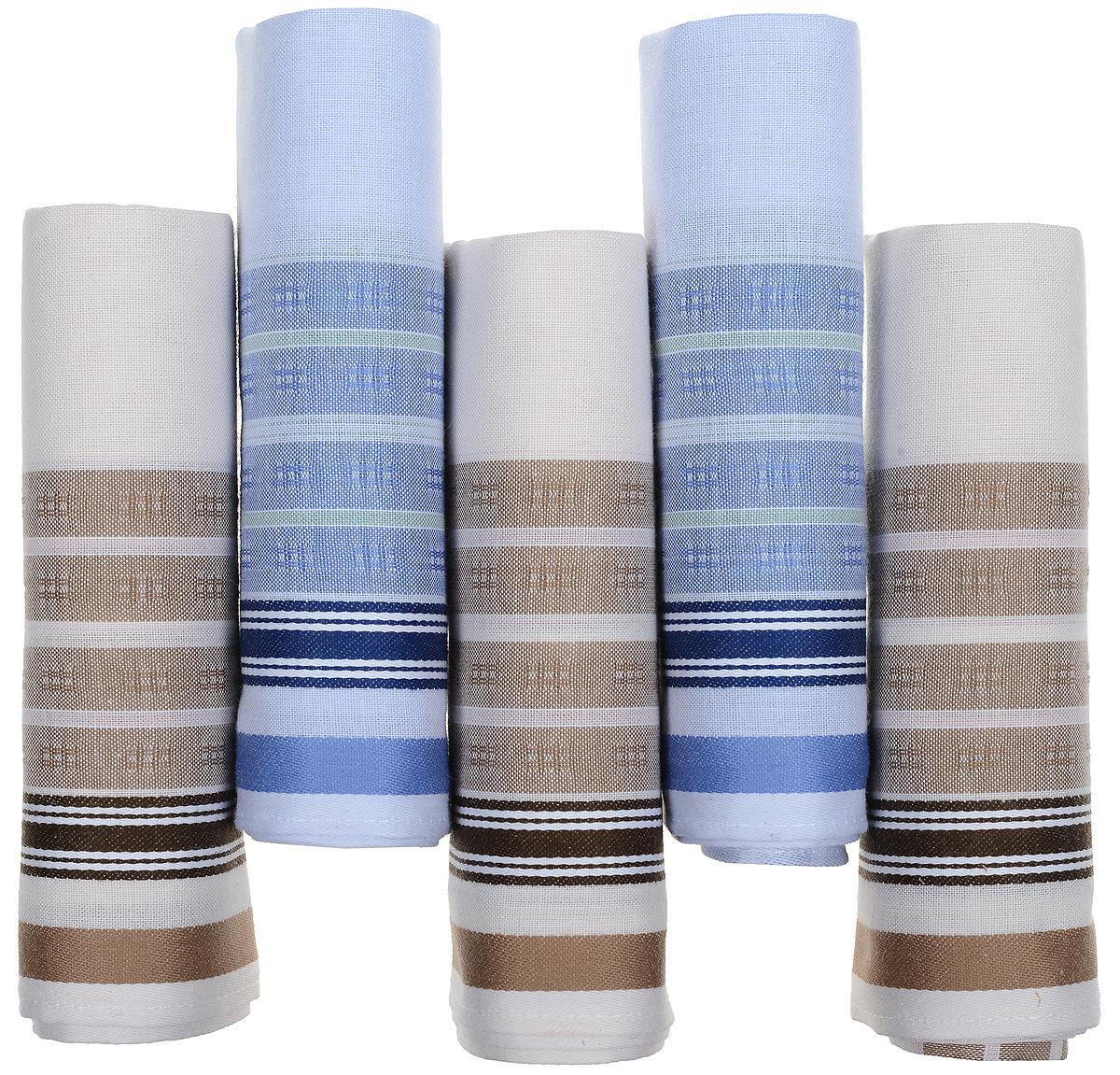 Платок носовой мужской Zlata Korunka, цвет: белый, коричневый, голубой, 5 шт. 90512-5. Размер 29 см х 29 см90512-5Оригинальный мужской носовой платок Zlata Korunka изготовлен из высококачественного натурального хлопка, благодаря чему приятен в использовании, хорошо стирается, не садится и отлично впитывает влагу. Практичный и изящный носовой платок будет незаменим в повседневной жизни любого современного человека. Такой платок послужит стильным аксессуаром и подчеркнет ваше превосходное чувство вкуса. В комплекте 5 платков.