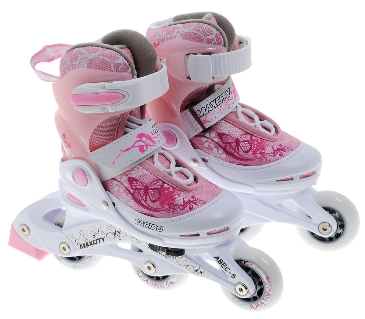 Комплект MaxCity Caribo Combo Girl: коньки роликовые раздвижные, защита, шлем, цвет: розовый, белый. Размер 26/29CARIBOСтильный комплект Caribo Combo от MaxCity состоит из раздвижных роликовых коньков, шлема и защиты (наколенники, налокотники, защита запястий) и оформлен ярким оригинальным принтом. Комплект предназначен для детей и начинающих роллеров. Ботинок конька изготовлен из комбинированных синтетических и полимерных материалов, обеспечивающих максимальную вентиляцию ноги. Анатомически облегченная конструкция ботинка из пластика обеспечивает улучшенную боковую поддержку и полный контроль над движением. Подкладка из мягкого текстиля комфортна при езде. Стелька Hi Dri из ЭВА с бактериальным покрытием обеспечивает комфорт, амортизацию и предотвращает появление запаха. Классическая шнуровка обеспечивает отличную фиксацию на ноге. Также модель оснащена ремешком с липучкой на подъеме и на голенище - клипсой с фиксатором. Пластиковая рама почти не уступает в прочности металлической, но амортизирует не только усилие ноги, но и неровности дорожного покрытия, и не позволяет быстро разгоняться. Мягкие...