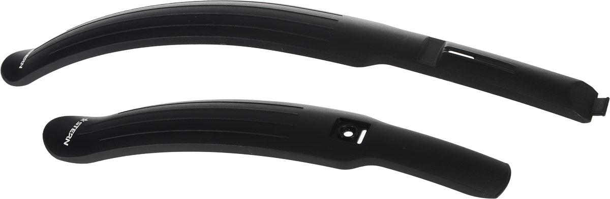 Набор велосипедных крыльев Stern, 24-26, 2 штCMS-2.Комплект велосипедных крыльев Stern подходит для велосипедов с диаметром колес 24-26. Выполнены из прочного пластика. Переднее крыло крепится за проушину в вилке/переднем амортизаторе, заднее крепится к раме велосипеда. Крепежный набор входит в комплект.
