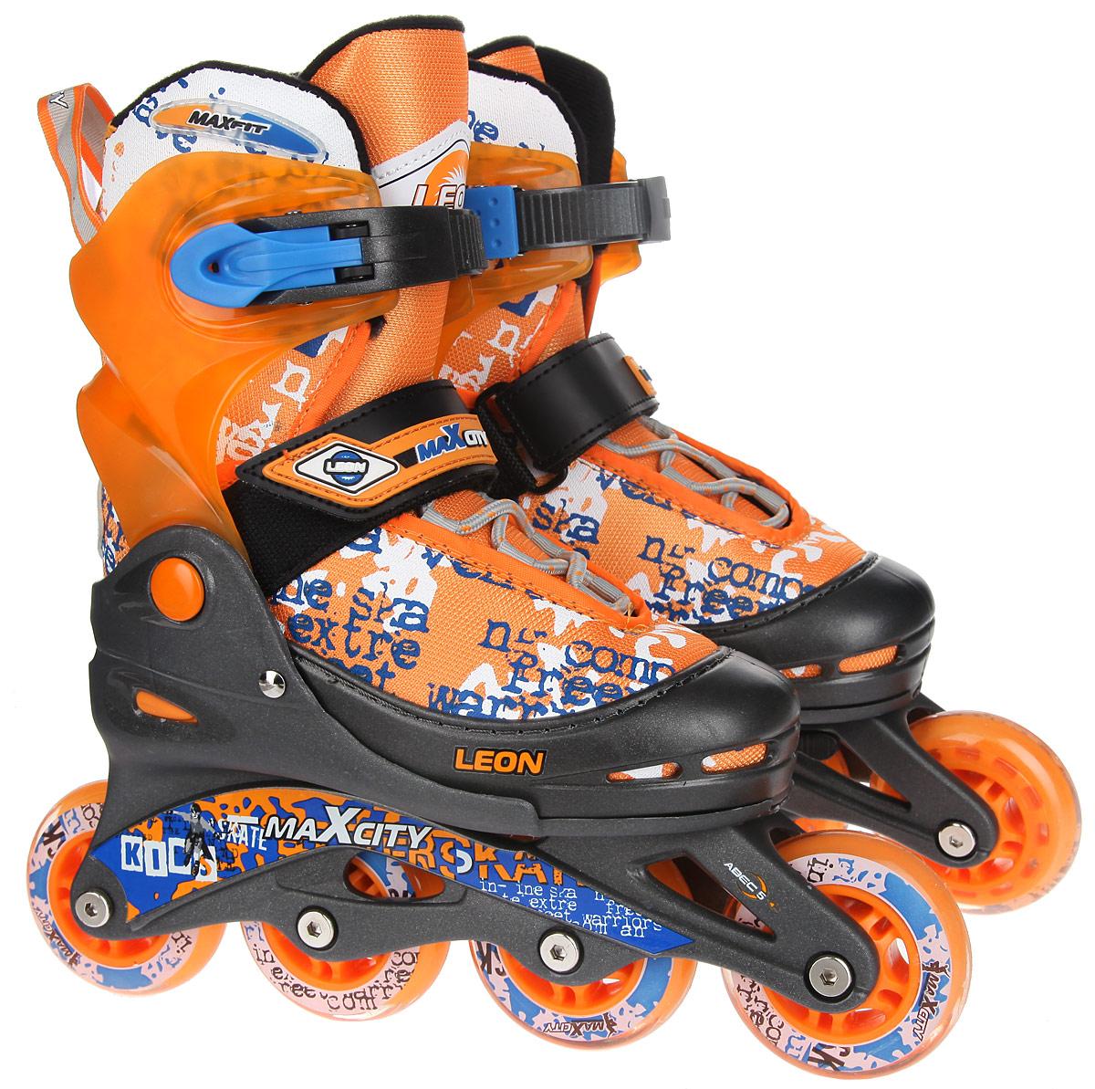Коньки роликовые MaxCity Leon, раздвижные, цвет: оранжевый, синий, белый. Размер 30/33LEONСтильные роликовые коньки Leon от MaxCity с ярким принтом придутся по душе вашему ребенку. Ботинок конька изготовлен по технологии Max Fit из комбинированных синтетических и полимерных материалов, обеспечивающих максимальную вентиляцию ноги. Анатомически облегченная конструкция ботинка из пластика обеспечивает улучшенную боковую поддержку и полный контроль над движением. Подкладка из мягкого текстиля комфортна при езде. Стелька Hi Dri из ЭВА с бактериальным покрытием обеспечивает комфорт, амортизацию и предотвращает появление запаха. Классическая шнуровка обеспечивает отличную фиксацию на ноге. Также модель оснащена ремешком с липучкой на подъеме, на голенище - клипсой с фиксатором. Пластиковая рама почти не уступает в прочности металлической, но амортизирует не только усилие ноги, но и неровности дорожного покрытия, и не позволяет быстро разгоняться. Мягкие полиуретановые колеса обеспечат плавное и бесшумное движение. Износостойкие подшипники класса ABEC 5 наименее восприимчивы к...