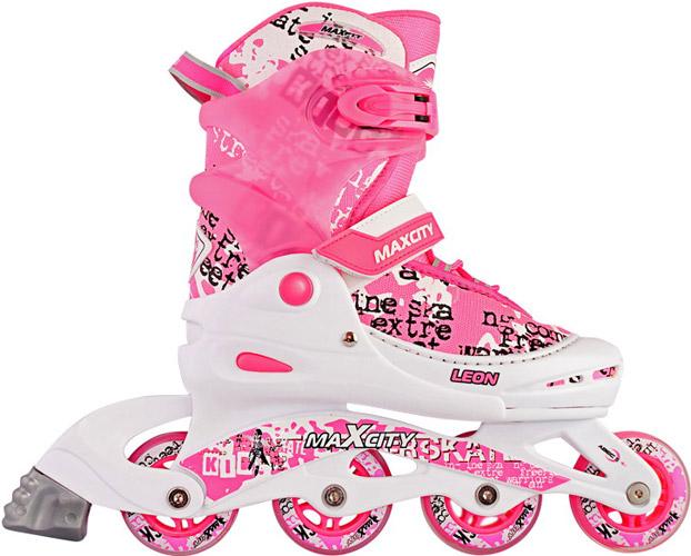 Коньки роликовые MaxCity Leon, раздвижные, цвет: розовый, белый. Размер 34/37LEONСтильные роликовые коньки Leon от MaxCity с ярким принтом придутся по душе вашему ребенку. Ботинок конька изготовлен по технологии Max Fit из комбинированных синтетических и полимерных материалов, обеспечивающих максимальную вентиляцию ноги. Анатомически облегченная конструкция ботинка из пластика обеспечивает улучшенную боковую поддержку и полный контроль над движением. Подкладка из мягкого текстиля комфортна при езде. Стелька Hi Dri из ЭВА с бактериальным покрытием обеспечивает комфорт, амортизацию и предотвращает появление запаха. Классическая шнуровка обеспечивает отличную фиксацию на ноге. Также модель оснащена ремешком с липучкой на подъеме, на голенище - клипсой с фиксатором. Пластиковая рама почти не уступает в прочности металлической, но амортизирует не только усилие ноги, но и неровности дорожного покрытия, и не позволяет быстро разгоняться. Мягкие полиуретановые колеса обеспечат плавное и бесшумное движение. Износостойкие подшипники класса ABEC 5 наименее восприимчивы к...