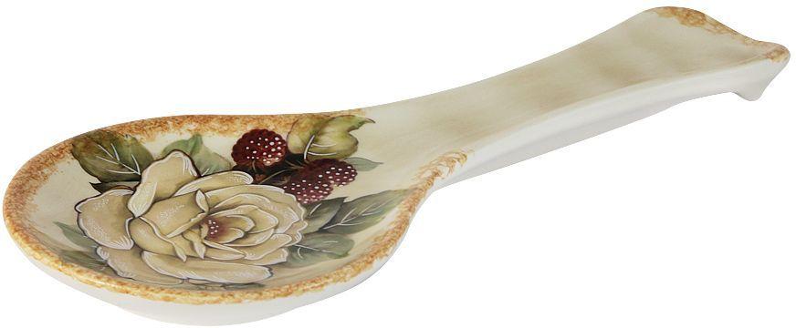 Ложка-подставка LCS Роза и малина, 25 см54159Ложка-подставка 25см Роза и малина LCS - молодая, динамично развивающаяся итальянская компания из Флоренции, производящая разнообразную керамическую посуду и изделия для украшения интерьера. В своих дизайнах LCS использует как классические, так и современные тенденции. Высокий стандарт изделий обеспечивается за счет соединения высоко технологичного производства и использования ручной работы профессиональных дизайнеров и художников, работающих на фабрике.