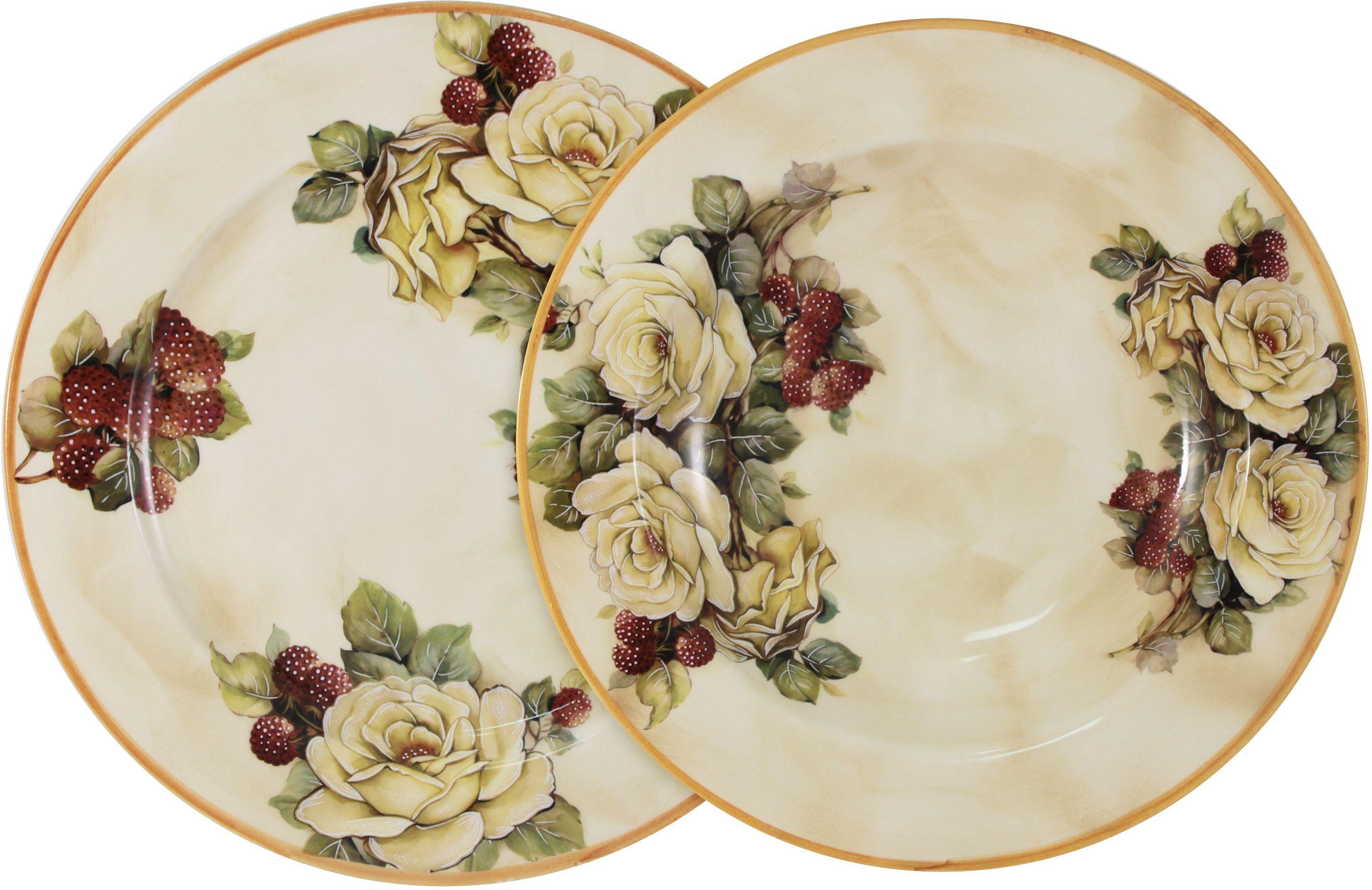 Набор тарелок LCS Роза и малина: суповая, 23,5 см, обеденная, 25 см54163Набор тарелок: суповая (23,5 см) + обеденная (25 см) Роза и малина LCS - молодая, динамично развивающаяся итальянская компания из Флоренции, производящая разнообразную керамическую посуду и изделия для украшения интерьера. В своих дизайнах LCS использует как классические, так и современные тенденции. Высокий стандарт изделий обеспечивается за счет соединения высоко технологичного производства и использования ручной работы профессиональных дизайнеров и художников, работающих на фабрике.