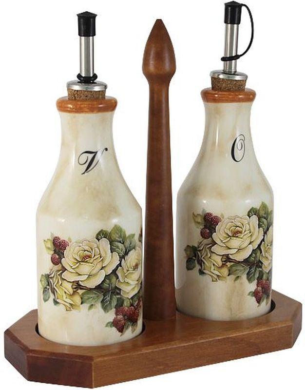 Набор бутылок для масла и уксуса LCS Роза и малина, на подставке, 275 мл, 2 шт54174Набор из 2-х бутылок для масла и уксуса на подставке 0,275л Роза и малина LCS - молодая, динамично развивающаяся итальянская компания из Флоренции, производящая разнообразную керамическую посуду и изделия для украшения интерьера. В своих дизайнах LCS использует как классические, так и современные тенденции. Высокий стандарт изделий обеспечивается за счет соединения высоко технологичного производства и использования ручной работы профессиональных дизайнеров и художников, работающих на фабрике.