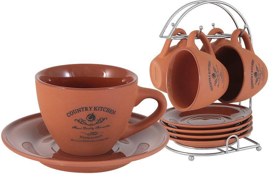 Набор чайный Terracotta Умбра, 5 предметов54098Набор: 4 чашки (0,2л) + 4 блюдца на металлической подставке Умбра Торговая марка Terracotta - это коллекции разнообразной посуды для сервировки стола, хранения продуктов и приготовления пищи из жаропрочной керамики, покрытой высококачественной глазурью. Достоинства керамической посуды, известные во всем мире: отсутствие выделений химических примесей, равномерный нагрев и долгое сохранение температуры позволяют придавать особый аромат пище, сохранять витамины и другие ценные питательные вещества. Изделия Terracotta идеально подходят для выпечки, приготовления различных блюд и разогревания пищи в духовом шкафу или микроволновой печи. Могут использоваться для хранения продуктов, в том числе в холодильнике. Мыть керамическую посуду рекомендуется теплой водой с небольшим количеством моющих средств. Лучше не использовать абразивные пасты и металлические мочалки. Допускается мытье в посудомоечной машине при соблюдении инструкции изготовителя посудомоечной машины....