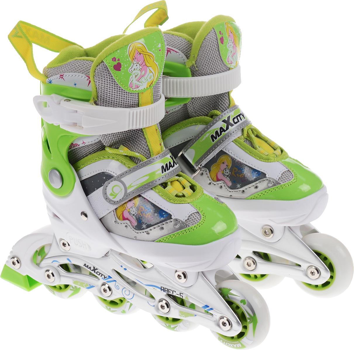 Коньки роликовые MaxCity Rio, раздвижные, цвет: зеленый, белый. Размер 29/32RIOСтильные роликовые коньки Rio от MaxCity с ярким принтом придутся по душе вашему ребенку. Ботинок конька изготовлен по технологии Max Fit из комбинированных синтетических и полимерных материалов, обеспечивающих максимальную вентиляцию ноги. Анатомически облегченная конструкция ботинка из пластика обеспечивает улучшенную боковую поддержку и полный контроль над движением. Подкладка из мягкого текстиля комфортна при езде. Стелька Hi Dri из ЭВА с текстильной поверхностью обеспечивает комфорт и отличную амортизацию. Классическая шнуровка с ремнем на липучке обеспечивает плотное закрепление пятки. На голенище модель фиксируется клипсой с фиксатором. Прочная рама из алюминия отлично передает усилие ноги и позволяет быстро разгоняться. Мягкие полиуретановые колеса обеспечат плавное и бесшумное движение. Износостойкие подшипники класса ABEC 5 наименее восприимчивы к попаданию влаги и песка, а также не позволяют развивать высокую скорость, что очень важно для детей и начинающих роллеров....