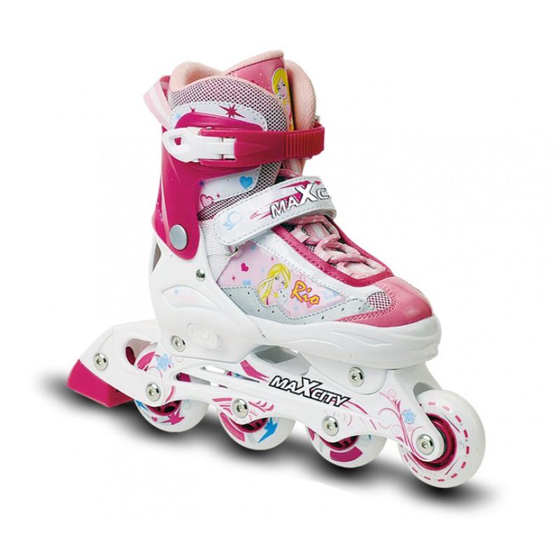 Коньки роликовые MaxCity Rio, раздвижные, цвет: розовый, белый. Размер 25/28RIOСтильные роликовые коньки Rio от MaxCity с ярким принтом придутся по душе вашему ребенку. Ботинок конька изготовлен по технологии Max Fit из комбинированных синтетических и полимерных материалов, обеспечивающих максимальную вентиляцию ноги. Анатомически облегченная конструкция ботинка из пластика обеспечивает улучшенную боковую поддержку и полный контроль над движением. Подкладка из мягкого текстиля комфортна при езде. Стелька Hi Dri из ЭВА с текстильной поверхностью обеспечивает комфорт и отличную амортизацию. Классическая шнуровка с ремнем на липучке обеспечивает плотное закрепление пятки. На голенище модель фиксируется клипсой с фиксатором. Прочная рама из алюминия отлично передает усилие ноги и позволяет быстро разгоняться. Мягкие полиуретановые колеса обеспечат плавное и бесшумное движение. Износостойкие подшипники класса ABEC 5 наименее восприимчивы к попаданию влаги и песка, а также не позволяют развивать высокую скорость, что очень важно для детей и начинающих роллеров....