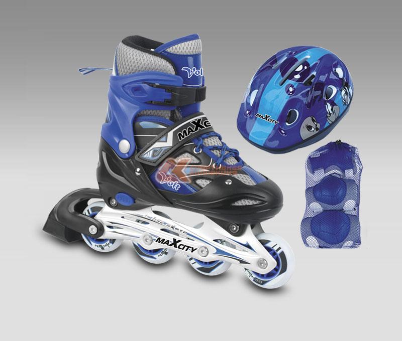 Роликовые коньки MaxCity Volt Combo, цвет: синий. Размер 31-34