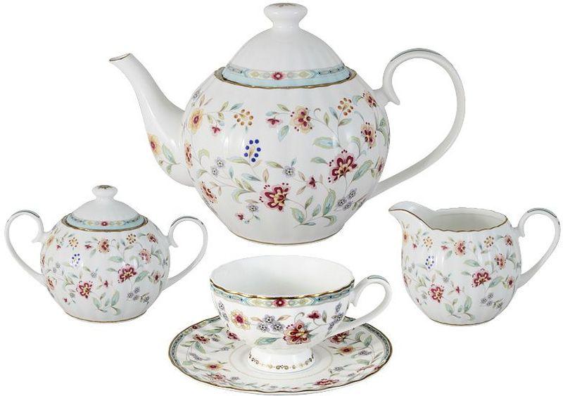 Чайный сервиз Colombo Грейс, 15 предметов, 6 персон46115Чайный сервиз из 15 предметов на 6 персон: 6 чашек 0,21л, 6 блюдец, чайник 1,2л, сахарница 0,4л, молочник 0,36л Грейс Посуда для чая и сервировки стола торговой марки Colombo изготовлена из костяного фарфора. Высокое качество изделий достигается благодаря использованию новейших технологий при изготовлении посуды, а также строгому контролю на всех этапах производственного процесса на фабрике. Рекомендуется мыть в теплой воде с применением мягких моющих средств