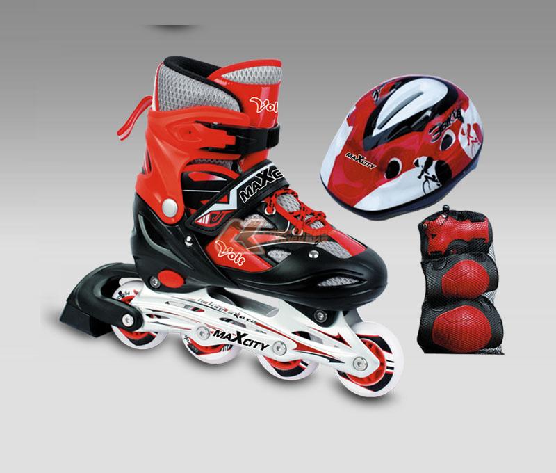 Роликовые коньки MaxCity Volt Combo, цвет: красный. Размер 31-34