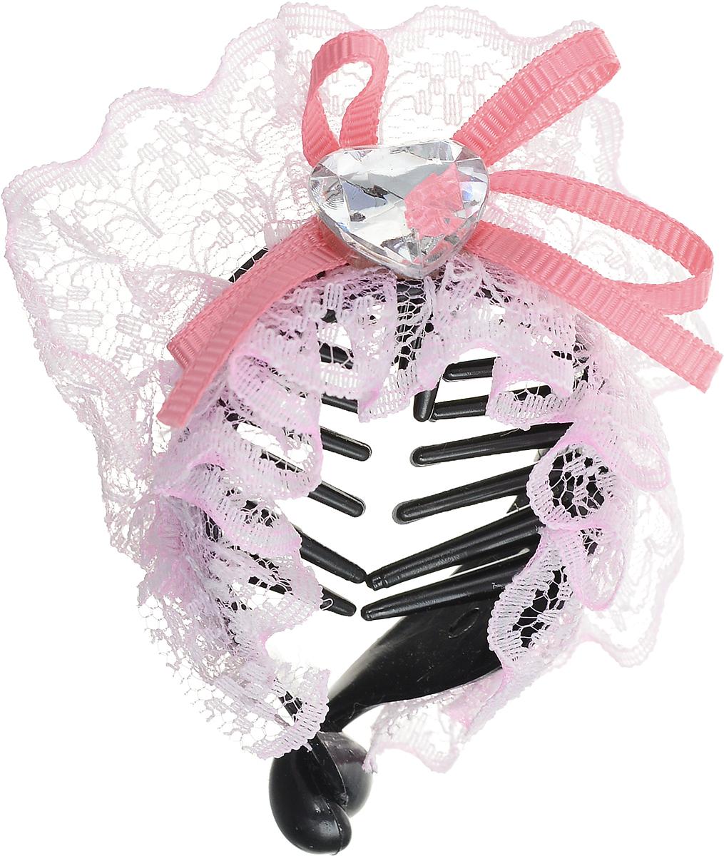 Зажим для волос Mitya Veselkov, цвет: черный, розовый. 1058-WHITE-DAM1058-WHITE-DAMСтильный зажим для волос Mitya Veselkov изготовлен из пластика, декорирован кружевной лентой и стразом в виде сердца.
