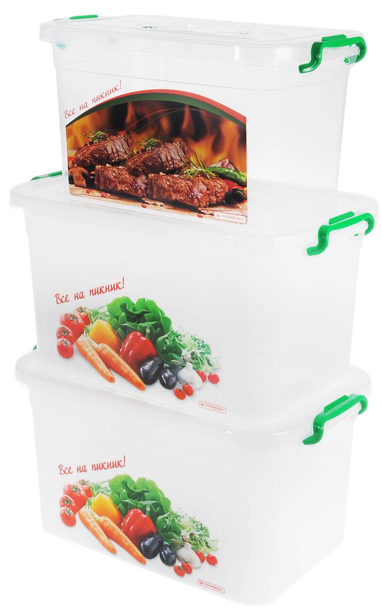 Набор контейнеров Полимербыт Все на пикник, с крышками, 6 предметовSGHPBKP17Набор контейнеров Полимербыт Все на пикник изготовлен из высококачественного прочного пластика, устойчивого к высоким температурам. В комплекте к контейнерам идут 3 прозрачных крышки. В набор входят 2 больших контейнера и один средний. Контейнеры идеально подходят для хранения пищи, их удобно брать с собой на пикник или просто использовать для хранения пищи в холодильнике. Можно мыть в посудомоечной машине. Размеры большого контейнера: 33 х 23 х 19 см. Размер среднего контейнера: 27,5 х 19,5 х 17 см.
