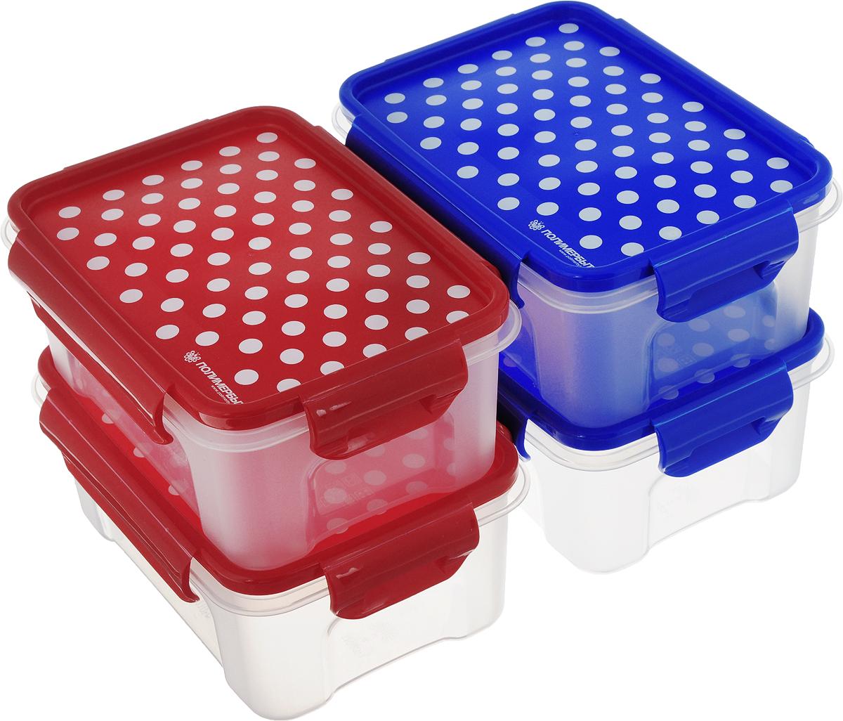 """Набор контейнеров Полимербыт """"Горох"""", прямоугольные, цвет: прозрачный, синий, красный, 0,75 л, 4 шт"""