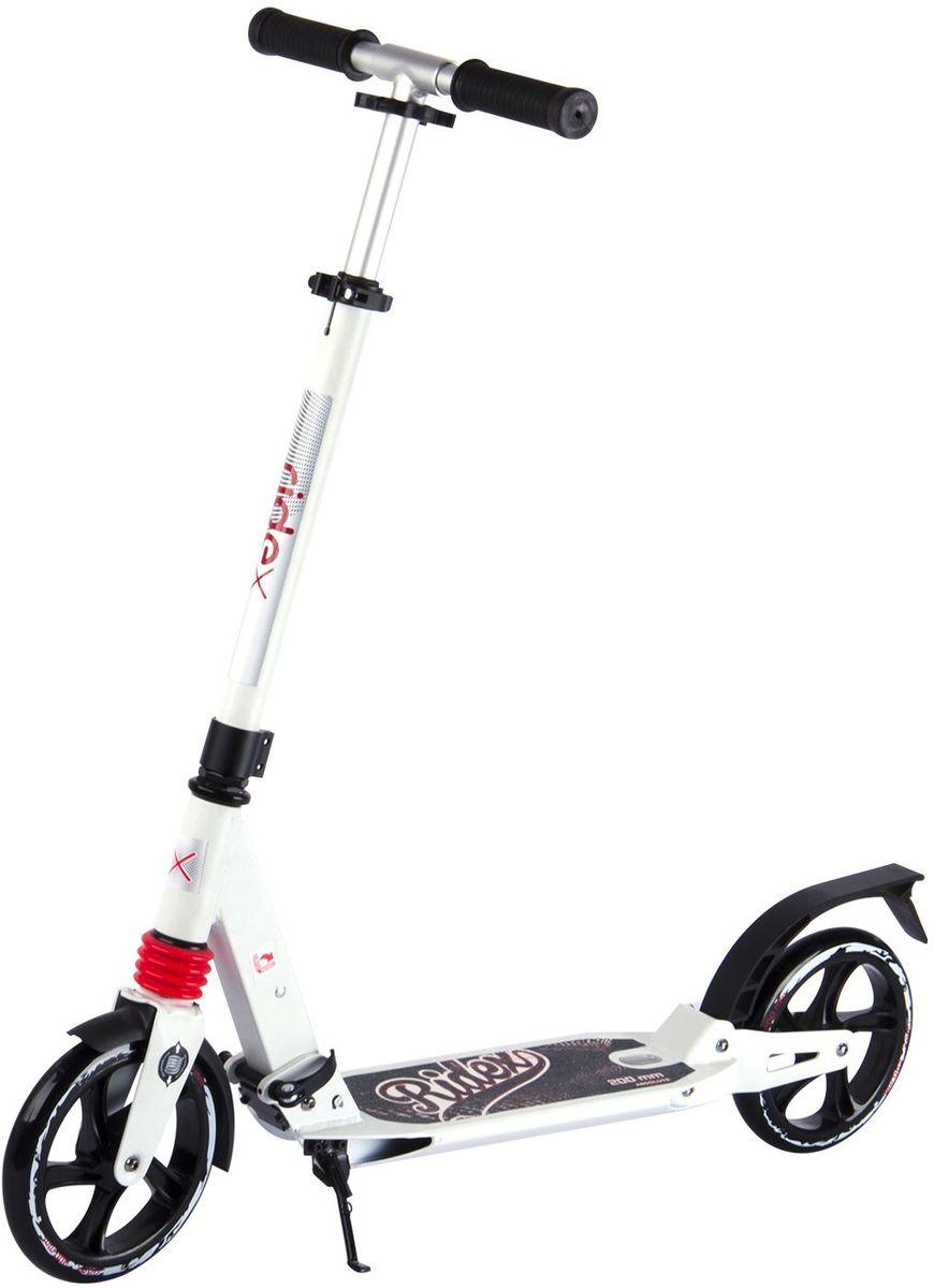 Самокат Ridex Absolute, 2-колесный, цвет: белый, черный, 200 ммУТ-00009712Стильная модель городского самоката, укомплектованная двумя амортизаторами, поглощающими вибрации при езде, в сочетании с большими полиуретановыми колесами создаёт условия для скоростного, но плавного и безопасного передвижения. Пластиковое отверстие в деке позволяет Вам стать непосредственно вовлеченным в технический процесс катания, увидев, как функционирует задний амортизатор при воздействии на деку. Технологичная система складывания оснащена специальным болтом под рамой, который способствует устранению люфта в конструкции самоката, позволяя Вам насладиться бесшумным катанием.