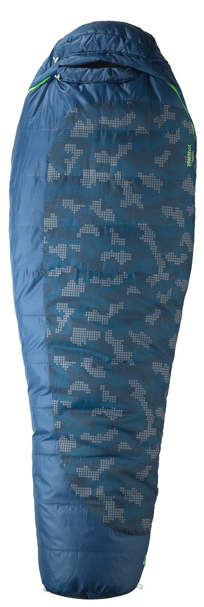 Спальный мешок Marmot Trestles 15, цвет: синий, левая молния20650-2639-LZСпальник прошел европейскую сертификацию EN Test. Утеплитель SpiraFil. Двусторонние молнии. Пуховый воротник с легким доступом к утягивающему шнуру, без липучки. Конструкция Wave - слои утеплителя уложены волнами с перекрытием для максимального сохранения тепла. В этом спальнике не страшна самая суровая непогода. Доступно в увеличенном размере X-wide. Трапециевидный отдел для ног для большего комфорта. Компрессионный мешок в комплекте. Чувствительные шнуры - различимы в темноте на ощупь. Утягивающий шнур капюшона легко регулируется. Вторая застежка-молния в верхней части спальника. Антизакусывающая планка вдоль молнии. Карман для мелочей - например, часов или батареек. 2 петли для сушки и для проветривания спальника. Двусторонние молнии – для вентиляции и состегивания спальников. Двусторонние ползунки на молниях позволяют использовать их как вне, так и снаружи спальника. Валик вокруг лица без липучки - для большего комфорта. Молния...