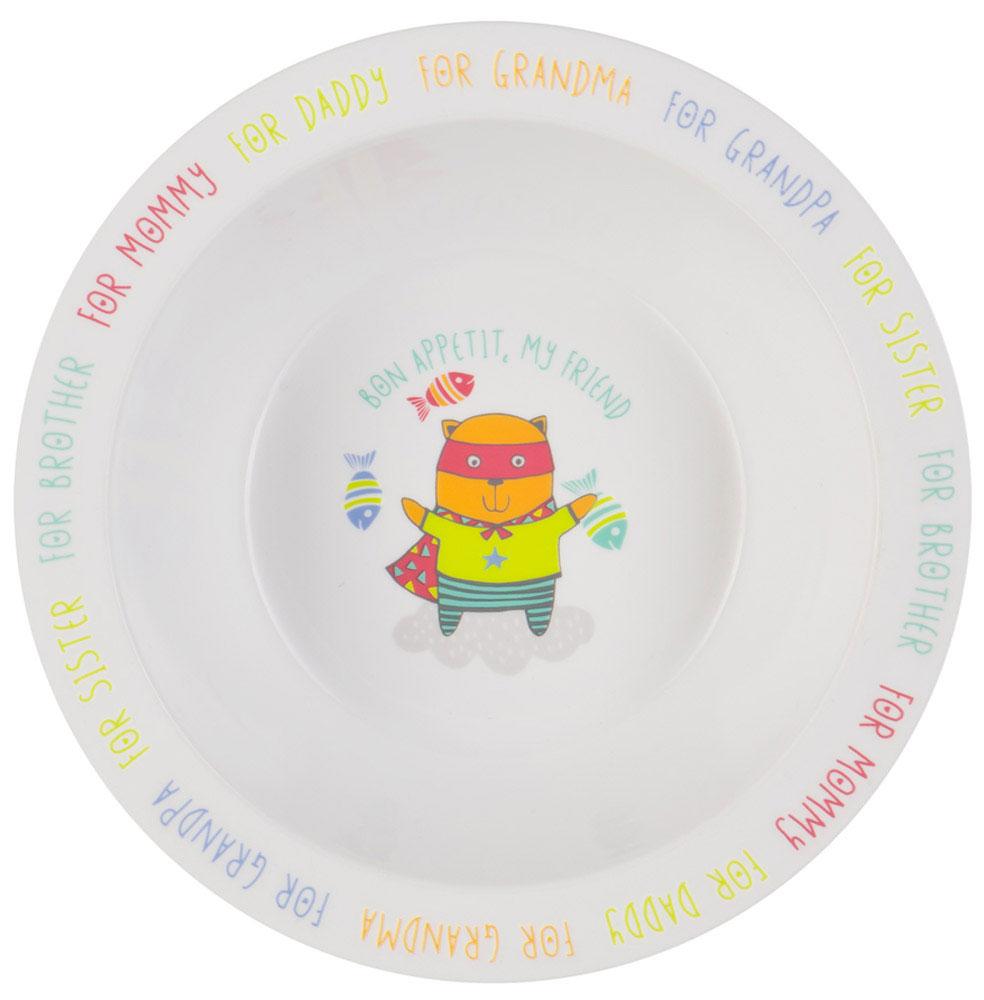 Happy Baby Тарелка глубокая для кормления Кот с присоской цвет белый желтый