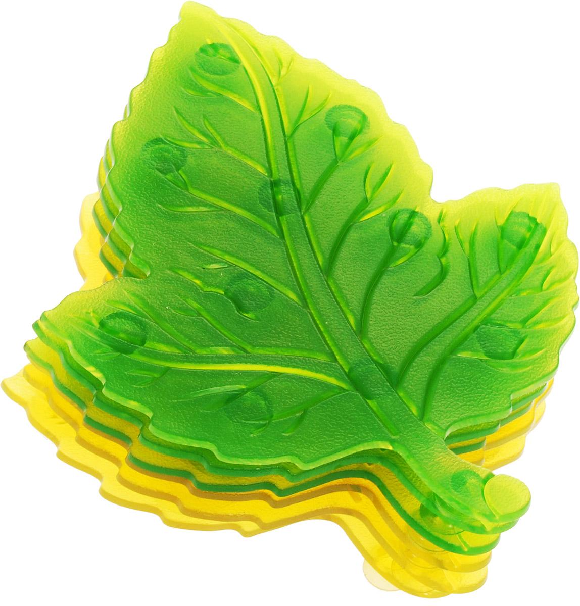 Valiant Мини-коврик для ванной комнаты Листик на присосках цвет зеленый желтый 6 шт