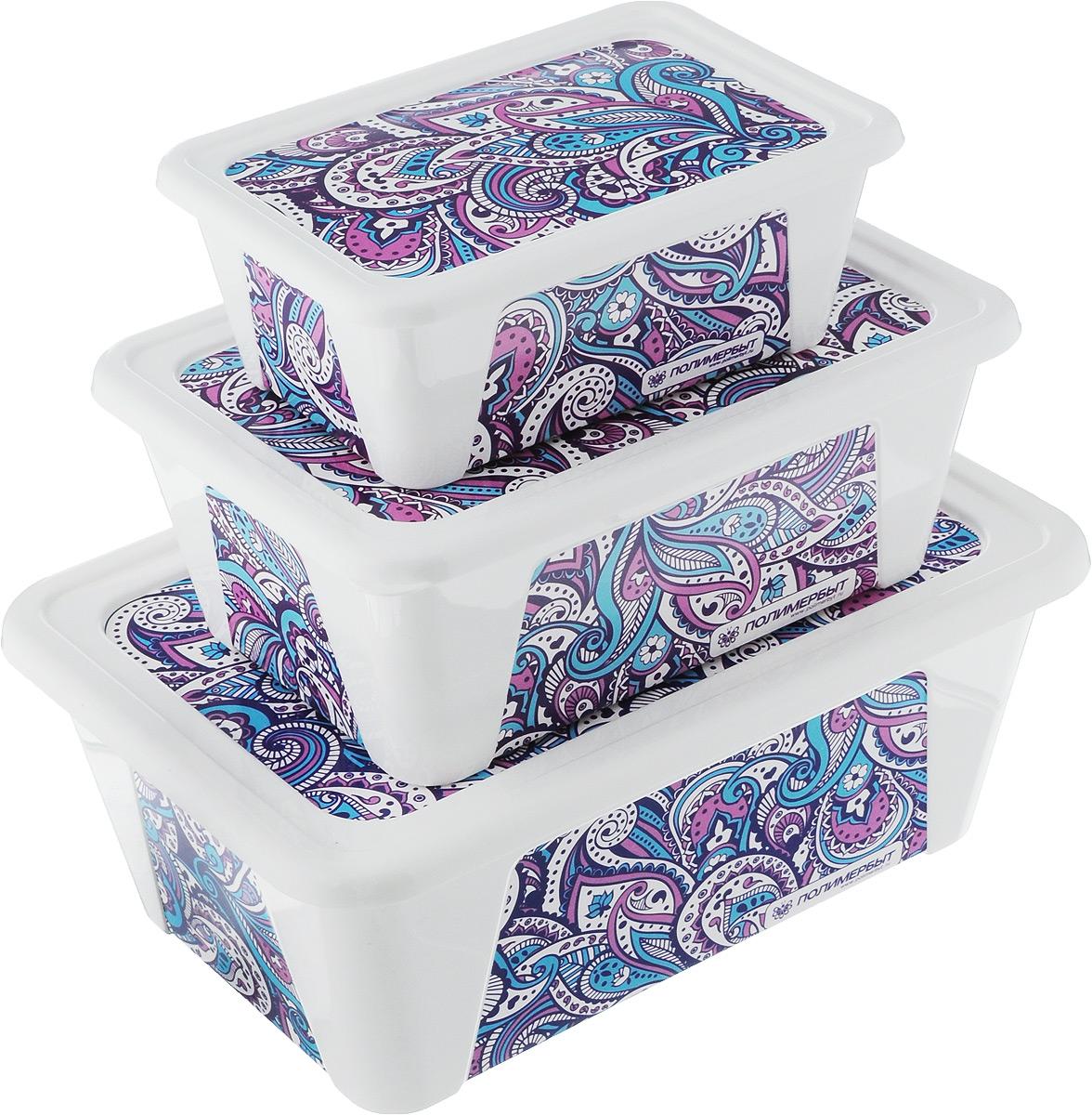 Набор контейнеров для хранения Полимербыт Пейсли, 3 предмета. SGHPBKP77SGHPBKP77Набор Полимербыт Пейсли состоит из трех контейнеров для хранения, которые выполнены из пластика и оформлены оригинальным рисунком. Изделие подойдет для хранения различных бытовых предметов. Удобные в использовании и хранении. Размеры контейнеров: 22 х 15 х 8,5 см; 17,5 х 12,5 х 7 см; 13,5 х 9,5 х 5 см. Объем контейнеров: 0,4 л; 0,9 л; 1,65 л.