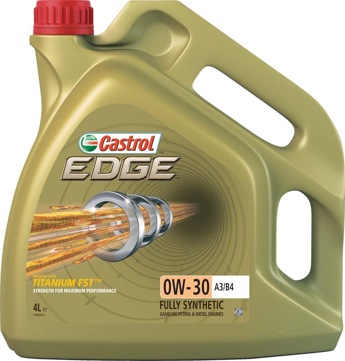 Моторное масло Castrol Edge0W-30 A3/B4, 4 л157E6BОписание Полностью синтетическое моторное масло Castrol EDGE произведено с использованием новейшей технологии TITANIUM FST™, придающей масляной пленке дополнительную силу и прочность благодаря соединениям титана. TITANIUM FST™ радикально меняет поведение масла в условиях экстремальных нагрузок, формируя дополнительный ударопоглащающий слой. Испытания подтвердили, что TITANIUM FST™ в 2 раза увеличивает прочность пленки, предотвращая ее разрыв и снижая трение для максимальной производительности двигателя. С Castrol EDGE Ваш автомобиль готов к любым испытаниям независимо от дорожных условий. Применение Castrol EDGE 0W-30 A3/B4 предназначено для бензиновых и дизельных двигателей автомобилей, где производитель рекомендует моторные масла класса вязкости SAE 0W-30 спецификаций ACEA A3/B3, A3/B4, API SL/CF или более ранних. Castrol EDGE 0W-30 A3/B4 одобрено к применению ведущими производителями техники (см. раздел спецификаций и руководство по эксплуатации автомобиля). Преимущества Castrol...