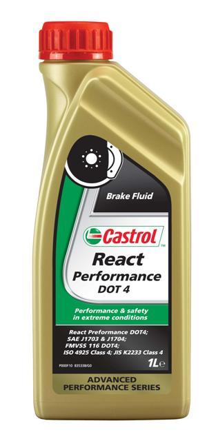 Тормозная жидкость Castrol React Performance DOT 4, 1 л157F8BОписание Castrol React Performance DOT 4 - высококипящая синтетическая тормозная жидкость, сильно превосходящая требования спецификаций SAE J1704, FMVSS 116 DOT 3 и DOT 4, ISO 4925 и JIS K2233. Продукт изготовлен на основе смеси полиалкиленгликолевых эфиров и борсодержащих сложных эфиров с высокоэффективными присадками и ингибиторами, обеспечивающими превосходную защиту от коррозии и препятствует образованию паровых пробок при высокой температуре. Тормозная жидкость Castrol React Performance DOT 4 предназначена для использования во всех тормозных системах, в особенности подвергающихся экстремальным нагрузкам, например в условиях гонок. Применение Тормозная жидкость Castrol React Performance DOT 4 специально разработана как альтернатива высокотемпературным свойствам жидкостей стандарта DOT 5.1. Запас свойств этой жидкости предоставляет дополнительные преимущества в ситуациях, когда автомобиль эксплуатируется в экстремальных условиях и требуется непревзойдённый отклик тормозной системы....
