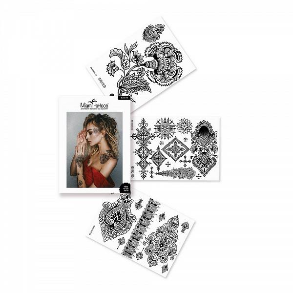 Переводные тату Miami Tattoos Black Ink, 3 листа 20см*15смMT0043Miami Tattoos - это дизайнерские переводные тату-украшения. Для набора переводных татуировок Black Ink татуировщица из Москвы Алиса Чекед, известная своими уникальными этническими узорами, нарисовала тату, которые так любит - цветы и замысловатые орнаменты вдохновлены Марокко. Для производства Miami Tattoos используются только качественные,?яркие?и?стойкие?краски. Они?не вызывают аллергию и держатся?до семи?дней!