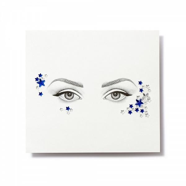 Miami Tattoos Клеящиеся кристаллы для лица Crystalzzz Stars in Blue, 1 лист 15см*16смMT0052Miami Tattoos - это дизайнерские переводные тату-украшения. Коллекция кристаллов Crystalzzz — это модный аксессуар для вашей кожи, который наносится за считанные секунды. Больше вам не нужна помощь визажиста, чтобы создать необычный макияж. Просто отклейте кристаллы от прозрачной пленки и приклейте их на чистую кожу. Crystalzzz можно наносить как на лицо, так и на тело. Они не вызывают аллергию и абсолютно безопасны для кожи.
