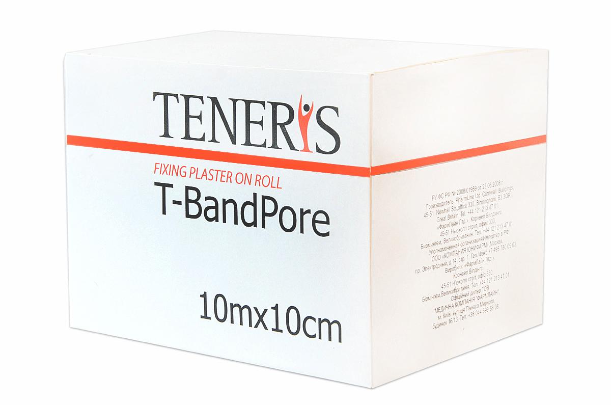 Teneris Адгезивный бинт на нетканной основе T-BandPore, д 75 х ш 75 х в 10295071Т-БендПор - фиксирующий пластырь в рулоне на основе хирургического нетканного материала. При наложении повторяет контуры частей тела, не нарушает подвижность суставов. Обладает высокой паро- и воздухопроницаемостью. Показания: для фиксации защитных повязок, тампонов, зондов и катеторов. Гипоаллергенный полиакрилатный клей отрывается без боли. Применение: отрезать необходимую часть пластыря, снять защитные полоски с клеевой поверхности и зафиксировать повязку. Менять ежедневно или по мере необходимости. Размер 10м х 10см